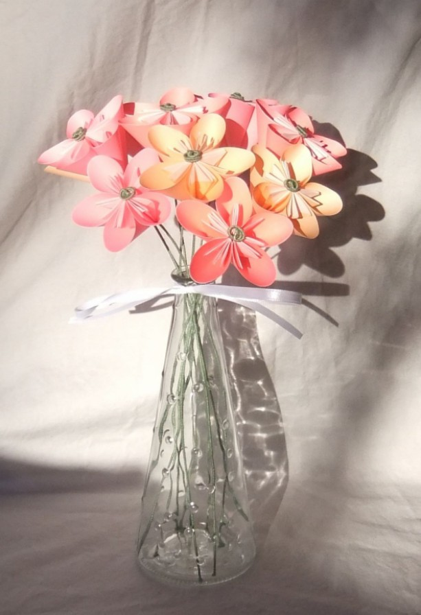 Pink Origami Flower Bouquet | aftcra