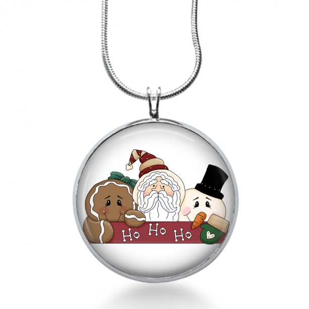 Santa Necklace - Ginger Bread Jewelry - Snowman Pendant - Holiday