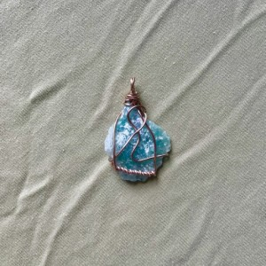 BLUEBERRY QUARTZ Healing Crystal wrapped in Aluminum Wire (with Choice of Strand Color)