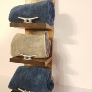 Rustic Nautical Three Shelf Towel Rack, Bathroom Decor