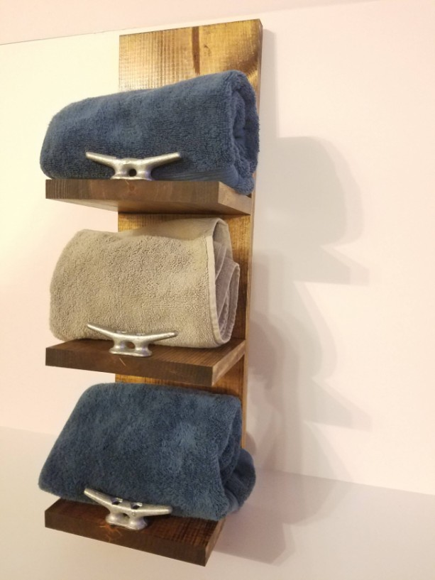 Rustic Nautical Three Shelf Towel Rack Bathroom Decor
