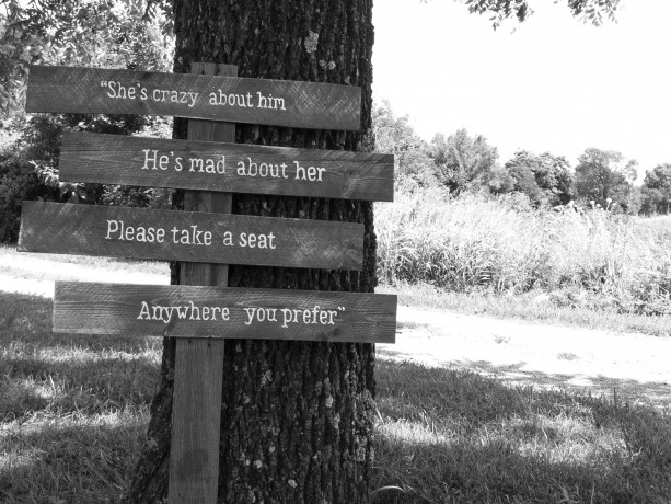 """Wedding sign """"she's crazy about him"""" """"He's crazy about her"""""""