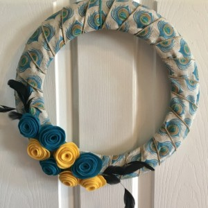 Felt Flowers and Feathers Burlap Peacock Wreath - Felted Roses - Burlap Wreath