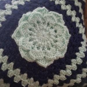 Granny square flower pillow.  Handmade pillow.  Home decor.