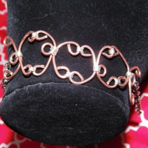 Bracelet, Wire Wrapped, Sterling Silver and Natural Copper