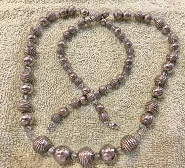"""Sparkling Silver handmade beaded necklace 31.5"""" long"""