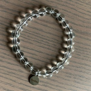 Men's stretch clear glass beaded bracelet with black accent cord