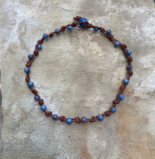 Leather and blues necklace