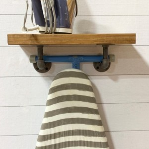 "Rustic 9.25"" Depth Laundry Room Ironing Board Rack, Ironing Board Holder, Pipe Farmhouse Floating Ironing board Holder, Iron storage"