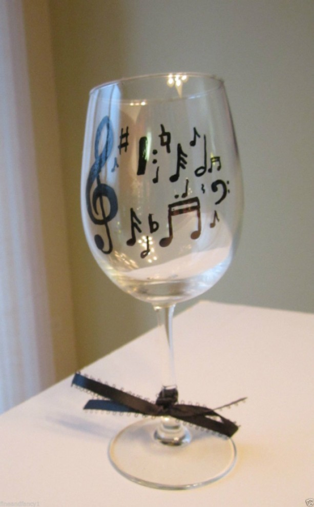 Hand Painted Wine Glass Musical Notes 12 oz.