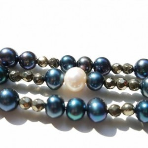Cultured Pearl and Pyrite Bracelet
