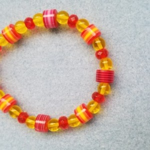 red yellow bead bracelet