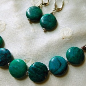 Brown leather necklace with green turquoise circle beads finished with decorative clasp & matching earrings.  #NS0093