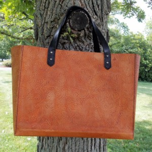 Leather bag, Patterned Leather Market Bag, or leather shopping bag.