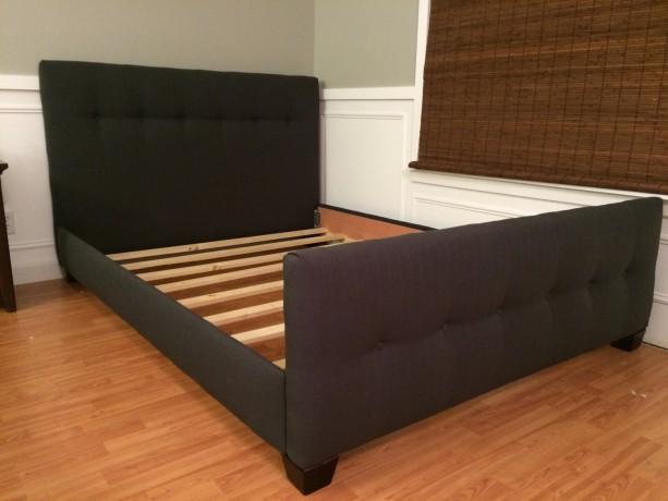 low profile upholstered headboard and bed frame aftcra. Black Bedroom Furniture Sets. Home Design Ideas