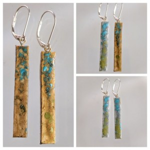 Gold Bar Earrings Stick Dangle REVERSIBLE with Aqua Peridot 2 looks in 1 pair!