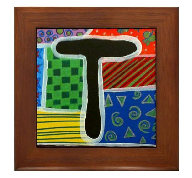 """Folk Art - Letter """"T"""" - FRAMED TILE By Artist A.V.Aposte"""