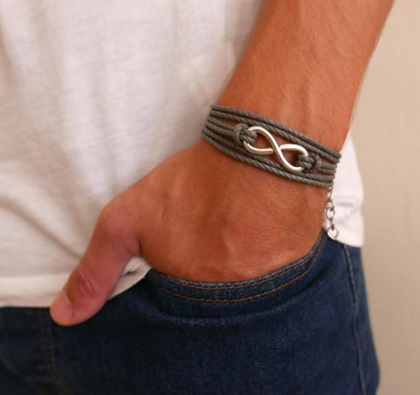 Men's Bracelet - Men's Infinity Bracelet - Men's Jewelry - Men's Gift - Boyfriend Gift - Husband Gift - Men's Vegan Bracelet - Guys Jewelry