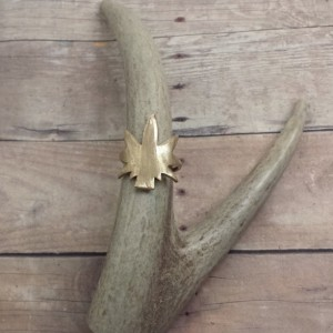 Brass or Copper Marijuana Leaf Ring