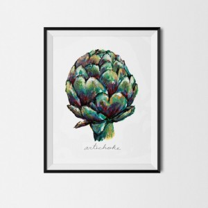 8x10 Artichoke Print, Vegetable Print, Original Painting, Colorful Kitchen Decor, Kitchen Print, Veggie Painting, Food Illustration