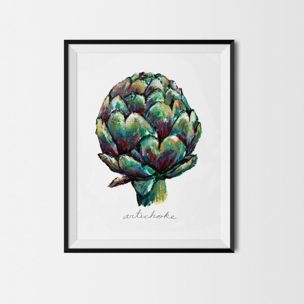 8x10 artichoke print vegetable print original painting for Artichoke decoration