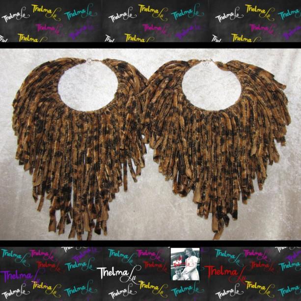 Leopard Earrings,leopard fringe,Fringe Hoop Earrings,Handmade Earrings,Long Fringe,Big Hoop,Unique Earrings,Upcycle,Funky,lite weight