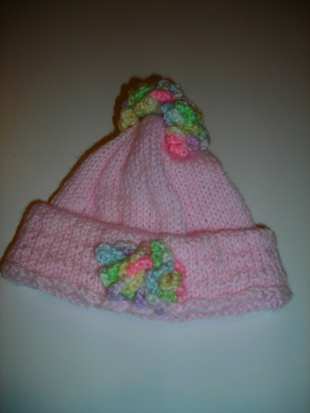 Pink Knitted Hat with Crocheted  Multi Colored Flowers for Newborn Girl to 3 Months