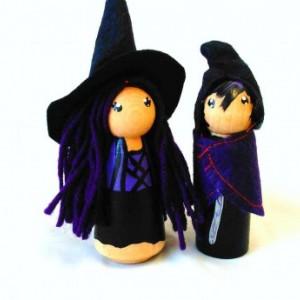 Halloween - Halloween witch dolls - Warlock doll - Wizard doll - Halloween gift - Halloween toy - Halloween dolls - Peg dolls - Peg people