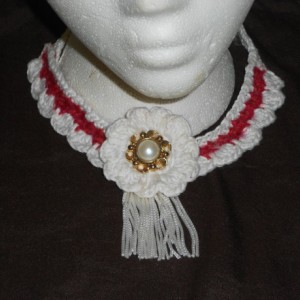 "Lovely Red and White Crocheted Necklace(""Country Elegance"") w/Large White crocheted flower N Faux Pearl/Faux Gold button w/White Fringe Trim"