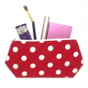 Cosmetic Bag with Polka Dots, Gift For Her, Large Cosmetic Bag, Travel Bag, Bags and Purses, Make Up Bag, Polka Dot Bag, Zipper Pouch
