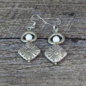 Quartz and Silver Diamond Metal Beaded Earrings
