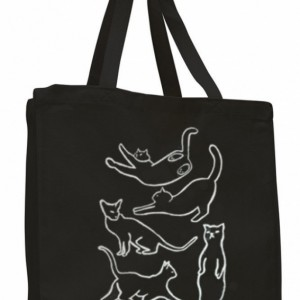 Cat canvas tote bag, black canvas tote, reusable bag, white cat silhouette, crazy cat lady, gift for cat lover, trick or treating, halloween