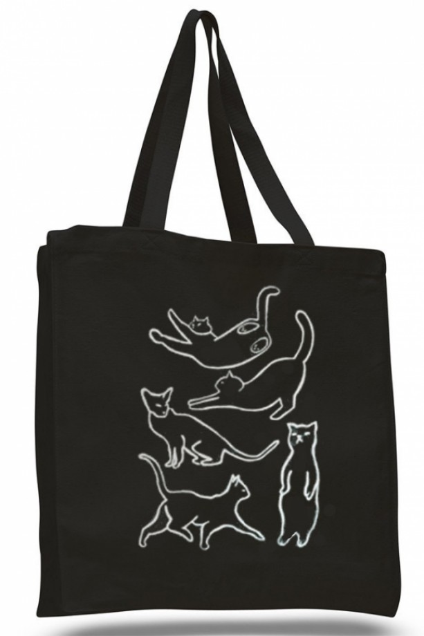 Cat canvas tote bag, black canvas tote, reusable bag, white cat s ...