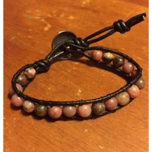 Leather Rhodonite Single Wrap Bracelet