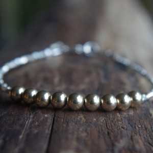 Hill Tribe Silver and 14/20 gold filled beads bracelet - Tiny bracelet - Delicate bracelet - Minimalist bracelet - Ready to ship - 7 inches