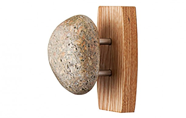 Single Sea Stones Stone Coast Hook/Towel Holder on an Ash Wood Backplate, Wall Mounted, Natural Stones, Ash Hardwood, Coat Rack, Bath Hook