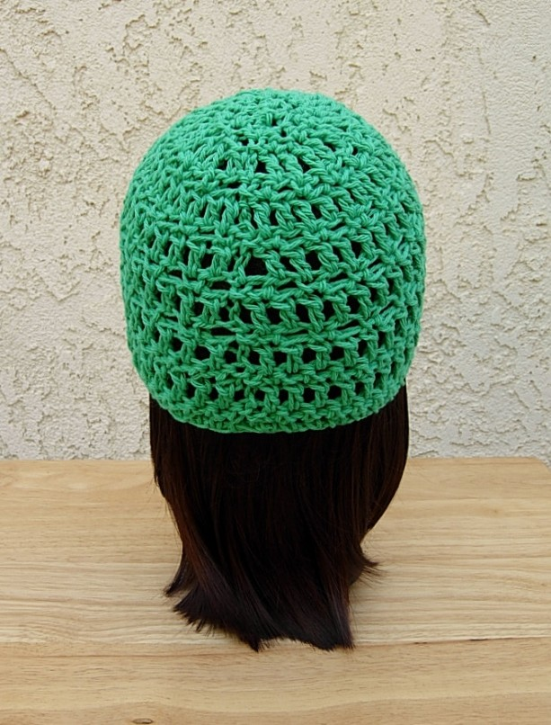 61a25b38488 Solid Green Cotton Summer Lightweight Crochet Beanie Hat. Solid Green Summer  Beanie