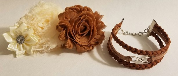 Braided Coffee and Tan Suede with Silver Infinity Symbol Stacked Bracelet