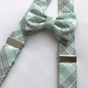 Suspender and Diaper Cover Set with Matching Bow Tie and Newsboy Cap
