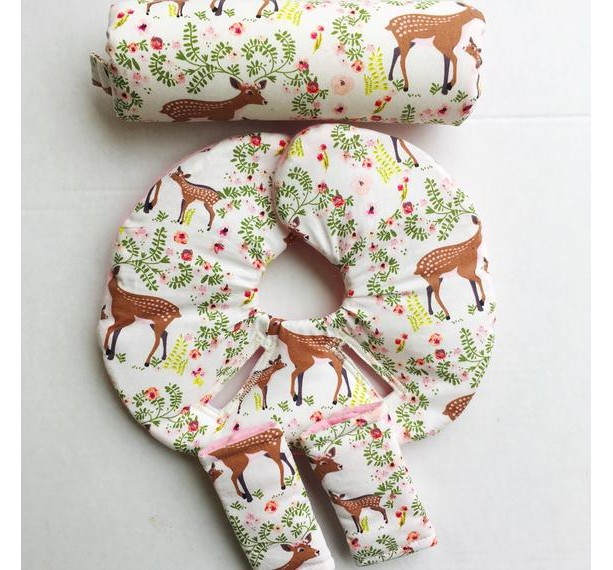 Car Seat Head Support, Fawn, Floral, Infant Head Support, Car Seat Strap Covers, Car Seat Insert, Newborn Baby Head Protector, Modern Baby