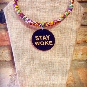 Stay Woke Afrocentric Ankara African Fabric Necklace, Afrocentric African Fabric Necklace, Ankara Necklace, Tribal Rope Necklace, Ankara