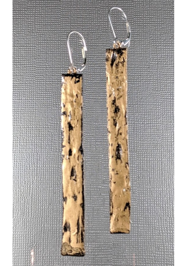 "Brass Bar REVERSIBLE Clay Earrings 3"" Long Textured Dangle"