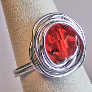 Artisan Handcrafted Made in USA Silver Tone Ring with Bright Red Bead
