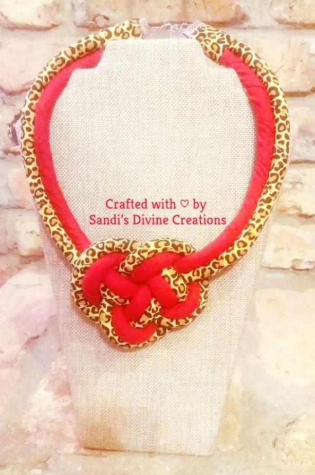 Cheetah Print Necklace, Cheetah Ginger Print Necklace, Lacquer Necklace, Fabric Necklace, Ankara Print Necklace, African Print Rope Necklace
