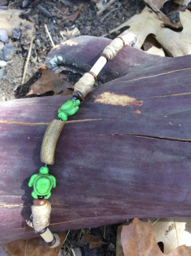 Men's bracelet, wooden bead turtle bracelet