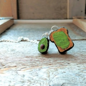 Avocado • Avocado Toast • Millennial Gift • Cute Necklace •  Green Jewelry • Handmade Clay Necklace • Funny Necklace • Christmas Gift • Food