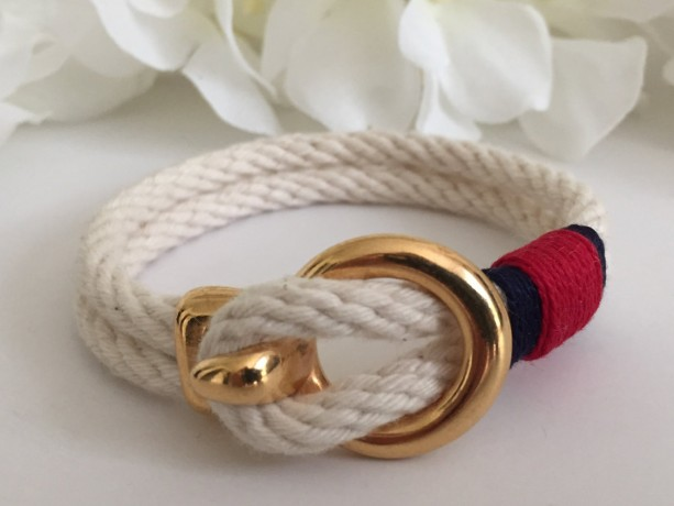 Natural White Rope Gold Open Hook Clasp Bracelet - Navy/Red