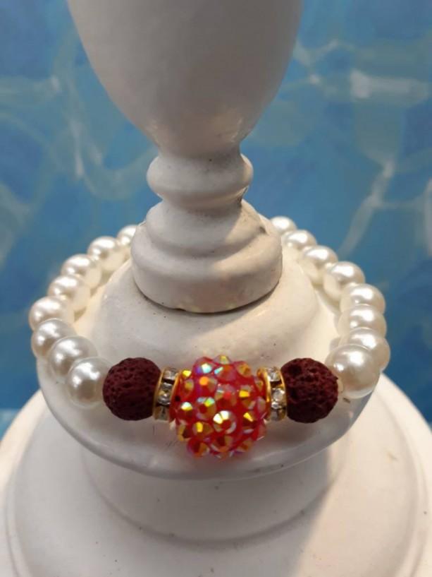Lava Bead Essential Oil Diffuser Bracelet/Adjustable/Bracelet/Calming/Essential Oil/Essential Oil Diffuser/Pearl