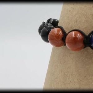 Goldstone, Tourmaline and Lapis Lazuli Macrame Bracelet
