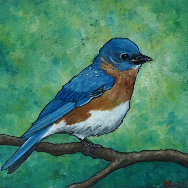 """Eastern Bluebird"" original oil painting"